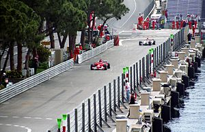 2004 Monaco Grand Prix - Michael Schumacher and Takuma Sato, in qualifying, en route to setting the fifth and eighth best times respectively