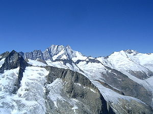 Schreckhorn - The north-east flanks of the Lauteraarhorn (left centre) and the Schreckhorn (right centre) as seen from the Diamantstock