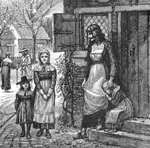 Scold's bridle - A branked scold in New England, from an 1885 lithograph.
