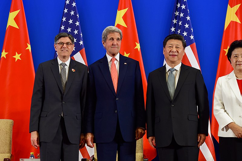 Secretaries Lew and Kerry Pose With Chinese President Xi Before the Chinese Leader Addressed the Opening Session of the U.S.-China Strategic Dialogue in Beijing (27267963990).jpg