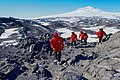 Secretary Kerry Walks Against a Backdrop of Mount Erebus and the hut in Cape Royds, Antarctica (30913576175).jpg