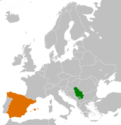 Map indicating locations of Србија and Шпанија