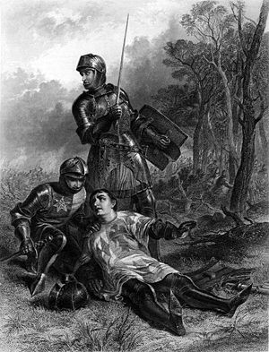 Henry VI, Part 3 - T. Brown engraving of The Death of the Earl of Warwick by John Adam Houston, from The Works of Shakespeare: Imperial Edition, edited by Charles Knight (1870)