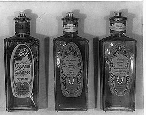 Shampoo - Bottles of shampoo and lotions manufactured in the early 20th century by the C.L. Hamilton Co. of Washington, D.C.
