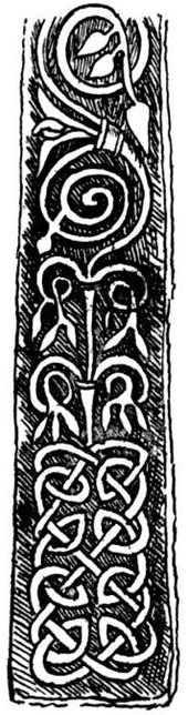Black and white drawing of an elongated rectangular stone carved with geometric and spiral patterns.