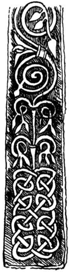 Sheffield Cross - Engraving showing detail of one face of the Sheffield Cross