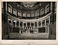Sheldonian Theatre, Oxford; panoramic view of interior. Line Wellcome V0014256.jpg