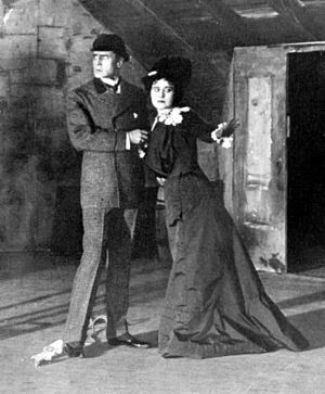 Sherlock Holmes (play) - William Gillette as Holmes and Katherine Florence as Alice Faulkner in the 1899 Broadway production of Sherlock Holmes