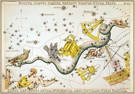 Sidney Hall - Urania's Mirror - Noctua, Corvus, Crater, Sextans Uraniæ, Hydra, Felis, Lupus, Centaurus, Antlia Pneumatica, Argo Navis, and Pyxis Nautica