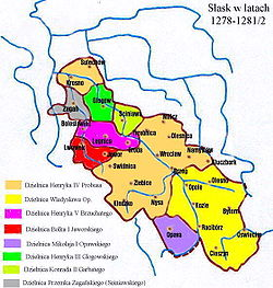 Silesia 1278 - 1281: The Duchy of Żagań soon after its creation (gray), west of the Duchy of Głogów (green)