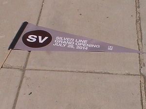Silver Line (Washington Metro) - Pennant given to users of the Silver Line on its grand opening, July 26, 2014.