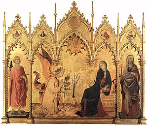 Annunciation with St. Margaret and St. Ansanus - Image: Simone Martini and Lippo Memmi The Annunciation and Two Saints WGA15010