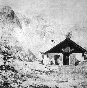 Friedrich Simony - 1877 photograph of the first Simony-Hütte.