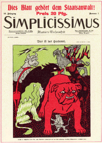Cover illustration by Thomas Theodor Heine for the magazine Simplicissimus in 1910 Simplicissimus.png
