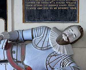 Arthur Acland (died 1610) - Detail of Acland's effigy on his monument in Landkey Church