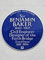 Sir BENJAMIN BAKER 1840-1907 Civil Engineer and Designer of the Forth Bridge lived here 1881-1894.jpg