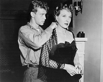"""Skip Homeier - Homeier and Evelyn Ankers in the General Electric Theater presentation of """"The Hunted"""", 1954"""