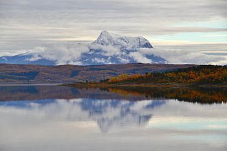 Scandinavian Montane Birch forest and grasslands - There is a large span in environmental conditions from the fjords to the mountains. Fall colors in the mid-boreal forest near the fjord while the Narvik mountains reach up to high alpine tundra; Northern Norway.