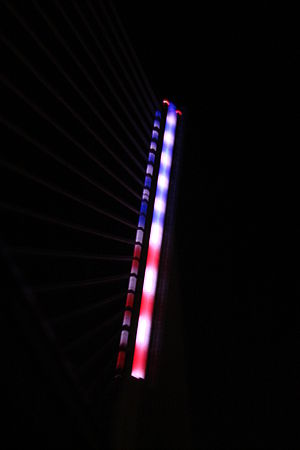 Veterans' Glass City Skyway - LED pylon lit up to resemble the American flag