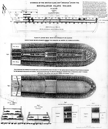 Diagram of a slave ship, the Brookes, intended to illustrate the inhuman conditions aboard such vessels.