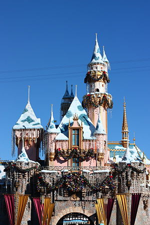 Sleeping Beauty Castle - Sleeping Beauty Castle decorated for Christmas