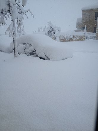 2013 Middle East cold snap - Snow-stranded automobiles in the Israeli settlement of Har Adar, December 2013