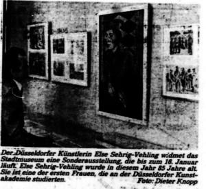 Else Sehrig-Vehling - Sonderausstellung im Düsseldorfer Stadtmuseum 1983