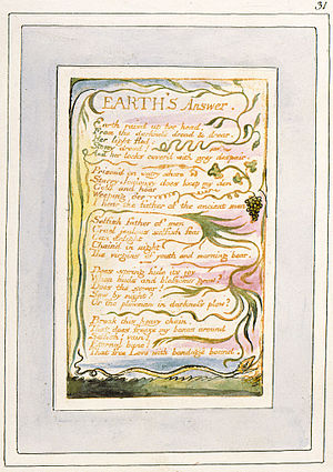 Earth's Answer - Image: Songs of Innocence and of Experience, copy V, 1821 (Morgan Library and Museum) object 31 Earth's Answer