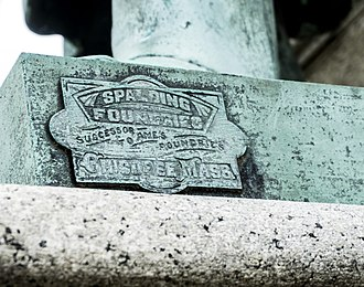 Spalding (sports equipment) - This Spalding  foundry mark is found on the 1908 Civil War memorial in Capron Park, Attleboro, Massachusetts.