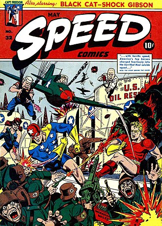 Crossover (fiction) - Comic book crossovers may be traced back to the Golden Age, where characters frequently teamed up on the cover (though far more rarely on the inside). Speed Comics number 32, Artwork by Alex Schomburg.