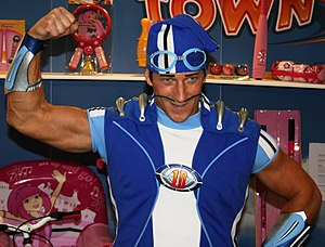 Sportacus - Magnús Scheving as Sportacus at the UK Toy Fair 2009