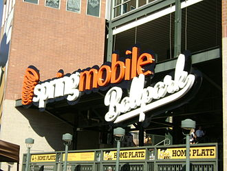 Salt Lake Bees - An entrance gate to Smith's Ballpark (former stadium name Spring Mobile Ballpark pictured), current home of the Salt Lake Bees
