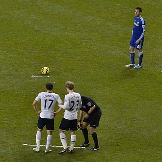 Direct free kick - Vanishing spray has been utilised in recent years to indicate the minimum distance for free kicks.