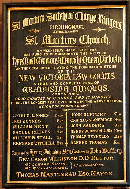 A peal board recording the details of a notable peal. Thousands of these boards exist in change ringing belfries St Martins Birmingham peal board Queen Victoria Law Courts 1887.jpg