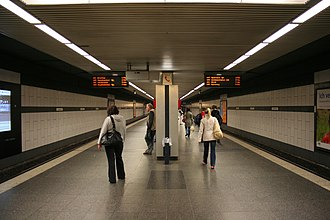 Metro station - Platform of Dortmund Stadthaus station in Dortmund, Germany