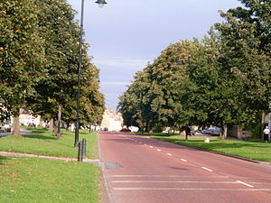 Staindrop - The A688 road running through the centre of Staindrop village green