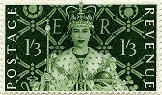Edmund Dulac - Dulac designed 1953 coronation stamp denominated 1/3