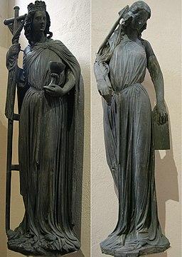Statues 'L'Église' et 'La Synagogue' de la Cathédrale de Strasbourg, original gothique conservé au Musée de l'Oeuvre Notre-Dame