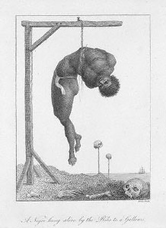 "Oroonoko - An engraving by William Blake illustrating ""A negro hung by his ribs from a gallows,"" opposite page 116 in Captain John Stedman's Narrative of a Five Years Expedition Against the Revolted Negroes of Surinam, 1792. The hanging took place in the then-Dutch ruled Surinam, an example of the barbarity of punishments of slaves, and the reputation of Surinam."