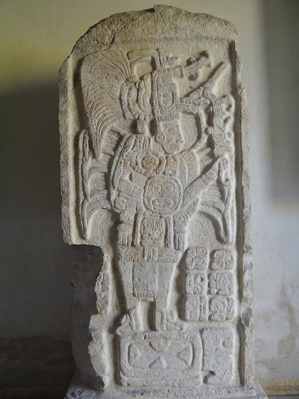 Stela of Mayan Warrior - Archaeological Museum - Fort of San Miguel - Campeche - Mexico