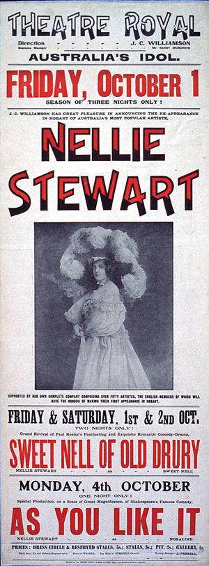Nellie Stewart - Poster for 1909 performances