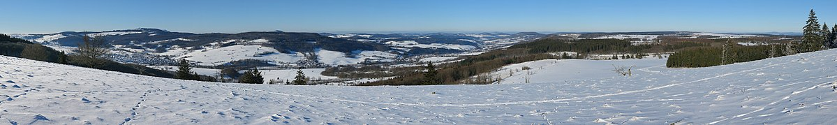 View from the northwestern hillside of the Stirnberg in the Rhön mountains
