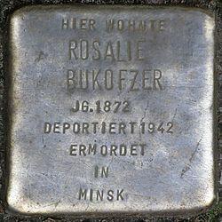 Photo of Rosalie Bukofzer brass plaque