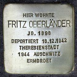Photo of Fritz Oberländer brass plaque