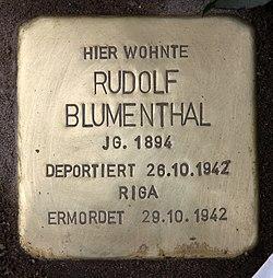 Photo of Rudolf Blumenthal brass plaque