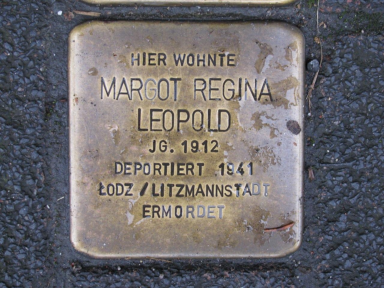 Stolperstein Margot Regina Leopold, 1, Schiede 28, Limburg an der Lahn, Landkreis Limburg-Weilburg.jpg