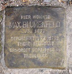 Photo of Max Blumenfeld brass plaque