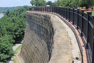 Adams County, Mississippi - Stone wall provides protection to Natchez, Mississippi from the Mississippi River.