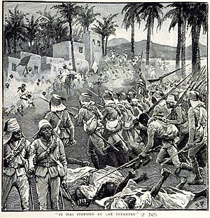 Battle of Ferkeh - Anglo-Egyptian troops storm the village of Ferkeh (illustration from a British book)