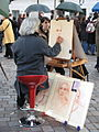 Street artist on the Place du Tertre, Montmartre, February 2007 003.jpg